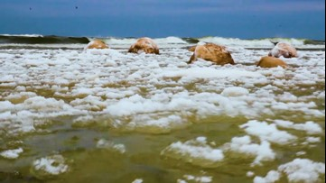 Ice balls form in frigid Lake Michigan