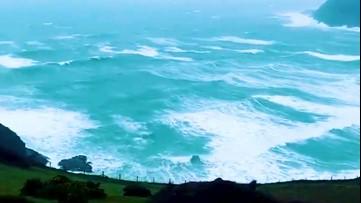 Waves crash against shore amidst Storm Dennis