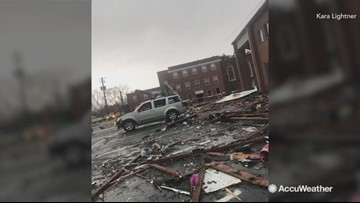 Tornado leaves behind a massive wreck to vehicles