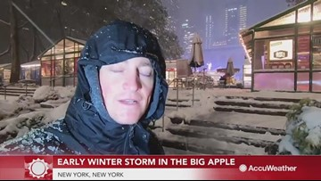 New Yorkers endure winter storm despite messy conditions