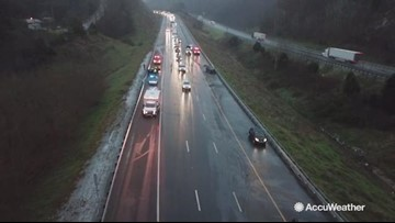 Drone footage shows I-81 backed up from snow day wreck