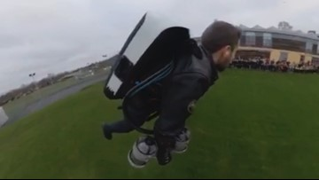 Real-Life 'Iron-Man' Soars Over Class Reunion With a Jetpack