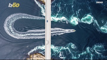 Making Waves! Photographer Captures Drone Footage Of Boat Speeding Through Strong Tidal Pools!