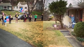 Social distancing birthday: This family celebrated a great-grandma's 95th from her front yard