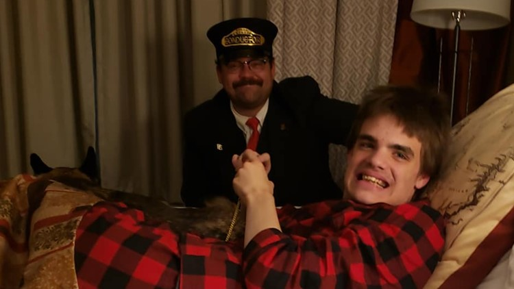 Polar express conductor visits autistic teen
