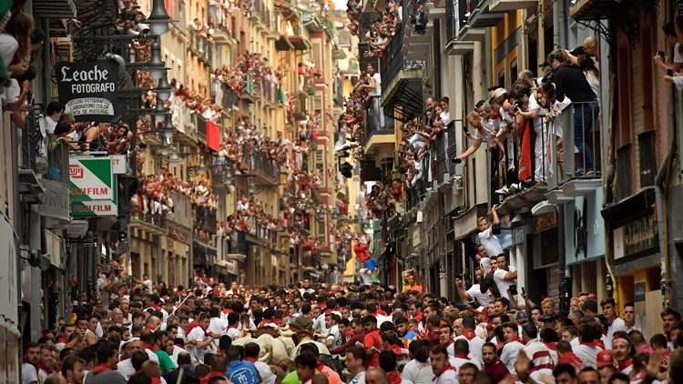 Spain Running of the Bulls crowd July 8