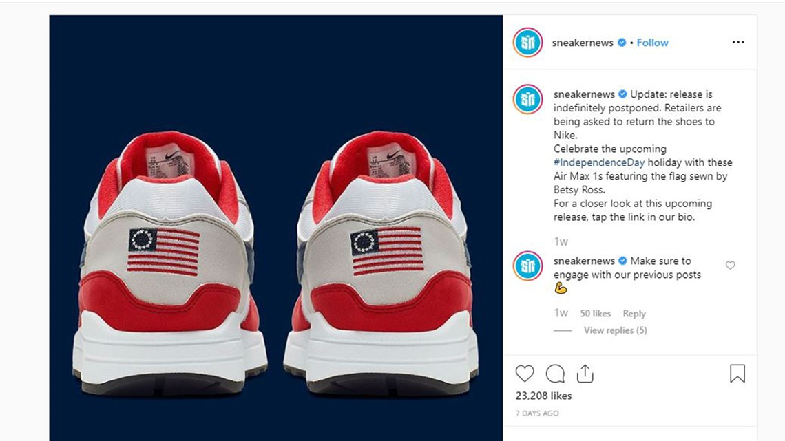 tarta Compasión Imperio Inca  Nike yanks Betsy Ross American flag shoe at Colin Kaepernick's urging    wtsp.com