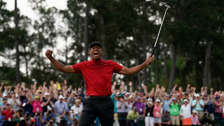 Tiger Woods celebrates Masters Golf win 2019 April