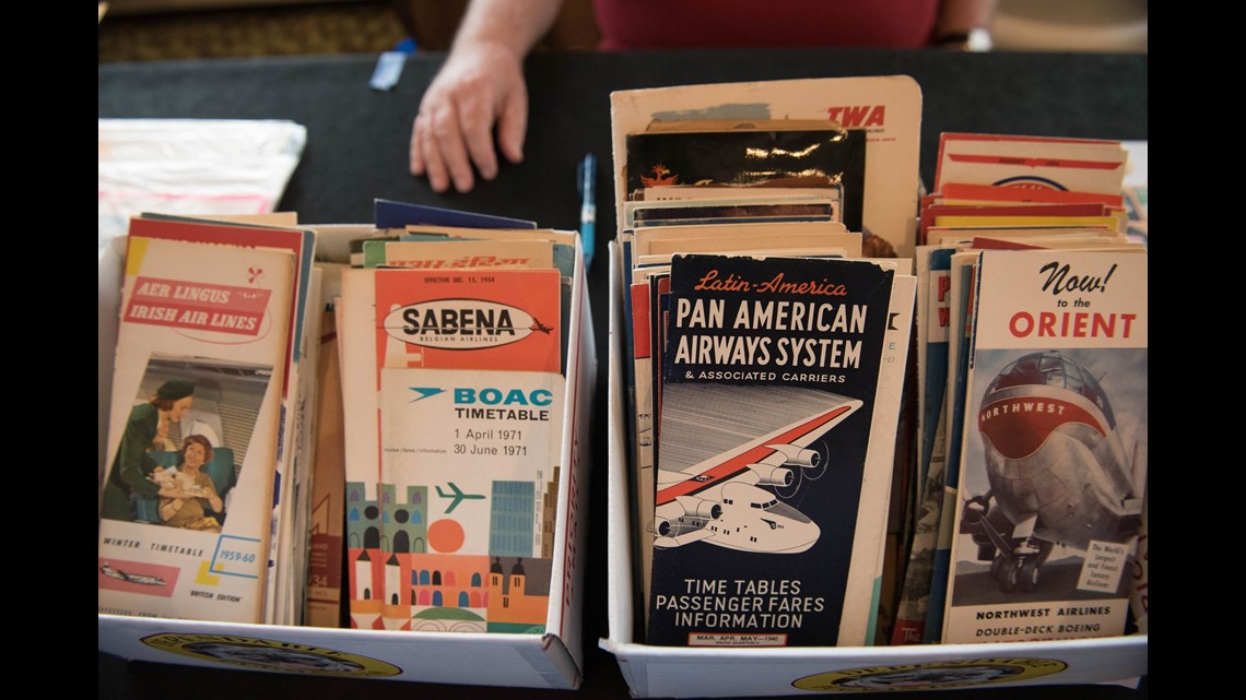 another popular collectors item for enthusiasts airline timetables thousands were on display at the virginia show including versions from long gone