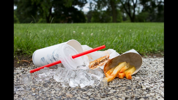 Fast Food Litter At Park