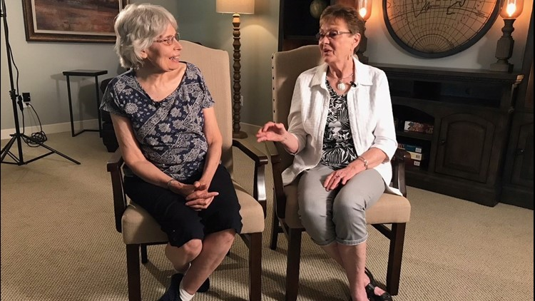 Denice Juneski (left) and Linda Jourdeans recently learned they were switched at birth