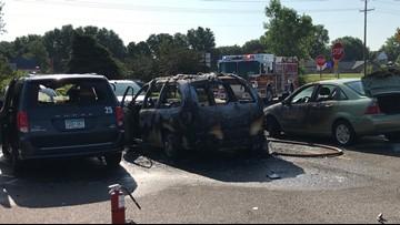 Children burned after vehicles start on fire in Walmart parking lot