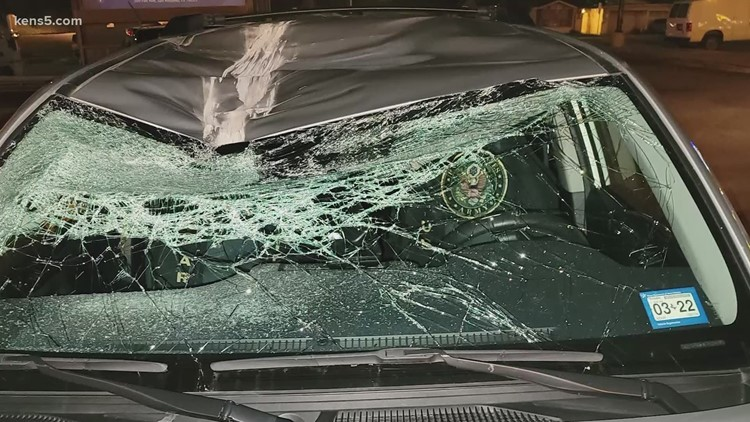 Rock thrown from highway overpass breaks truck's windshield, and it isn't the first time
