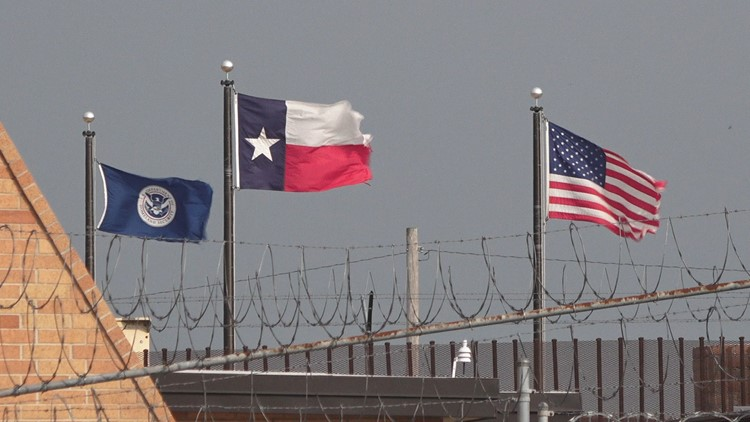 DHS, Texas, and USA flags at McAllen-Hidalgo-Reynosa port of entry
