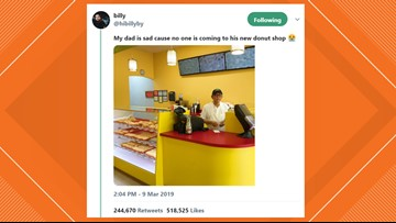 Customers rush to Texas doughnut shop after 'sad' dad tweet goes viral