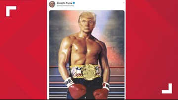 Trump tweets image of himself as Rocky