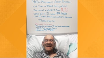 World War II veteran turning 100 years old has only one thing on his wish list – birthday cards!