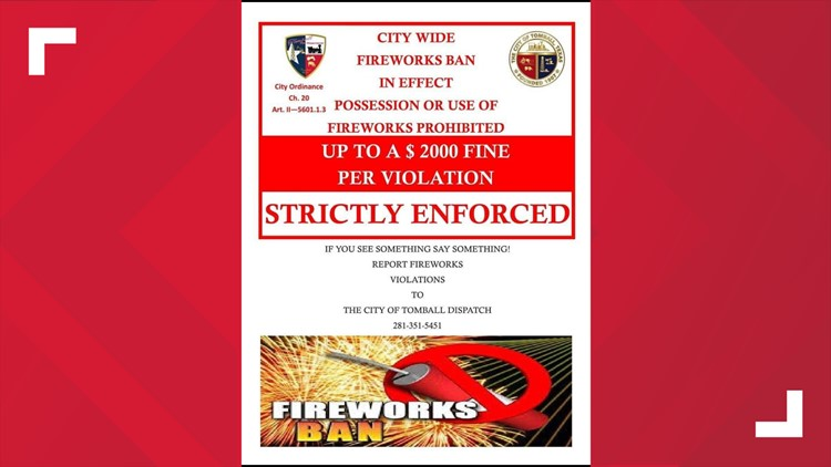 City of Tomball warns of fines related to fireworks ban
