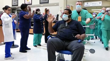 Arkansas healthcare workers applaud as 1st COVID-19 patient discharged home