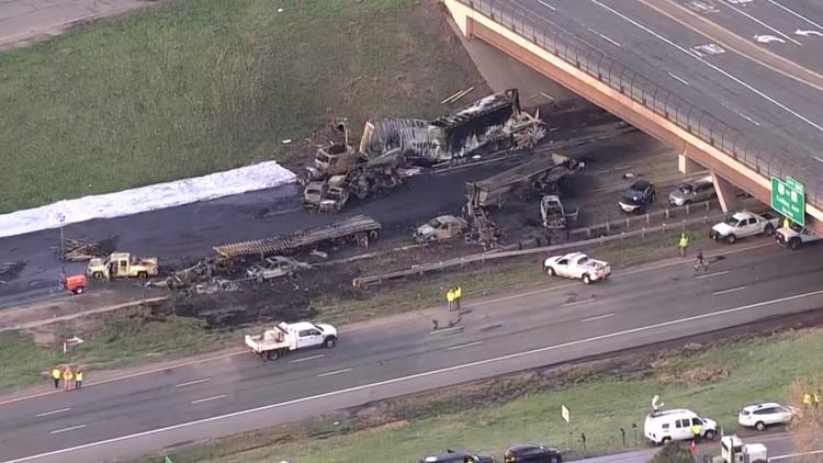 I-70 closed following fiery crash in Lakewood Friday AM Sky 9
