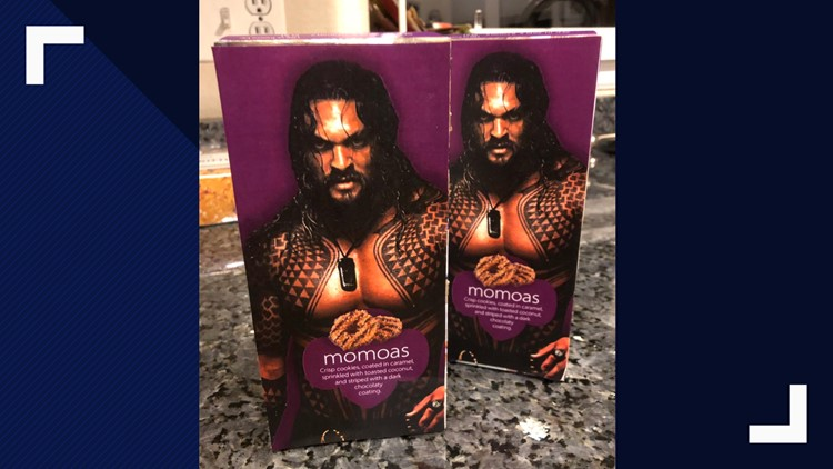 """""""Momoas"""", an epic mash up of Jason Momoa and """"Samoas"""" Girl Scout Cookies."""