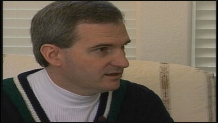 Michael Blagg speaks to 9NEWS in February 2002, weeks after the disappearance of his wife and 6-year-old daughter.