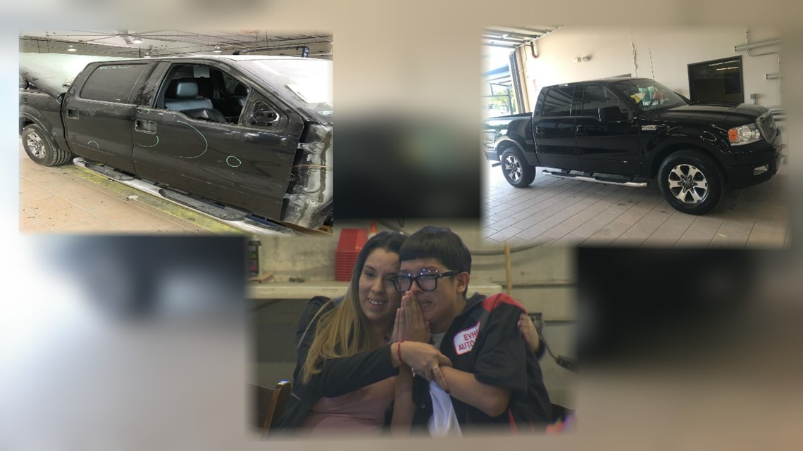 Autobody shop gifts teen with his late father's car