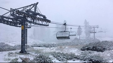 Snow falling along California-Nevada line