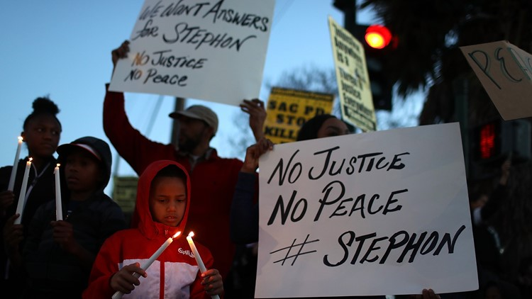 Black Lives Matter confronts officer allegedly involved in Stephon Clark shooting death
