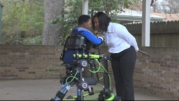 Man with cerebral palsy walks with robotic exoskeleton
