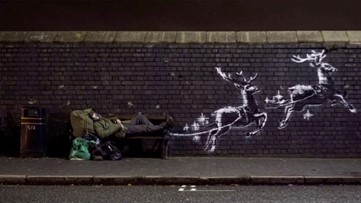 New Banksy Graffiti Highlights Homelessness Using a Christmas Theme