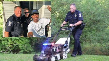 Officers join man on a mission to mow 50 lawns in 50 states for people who need help