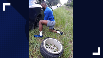 She had a flat tire. An NFL player pulled over to change it.