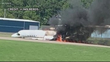Dale Earnhardt Jr. aboard plane that ran off runway and caught fire