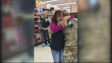 Adorable video shows soldier surprising mom at work