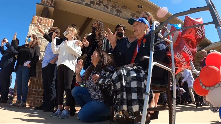 Family, community celebrates WWII veteran's 100th birthday with 100-car parade in Texas