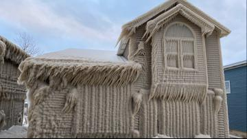 Ice covers homes in Hoover Beach, New York