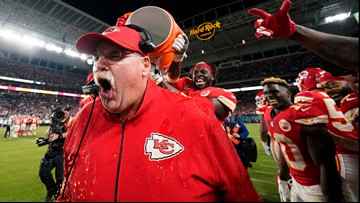 Chiefs coach after Super Bowl: 'I didn't spend the night with the trophy. I spent it with my trophy wife!'