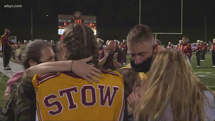 National Guard soldier returns from Kuwait, surprises kids at Stow-Munroe Falls football game