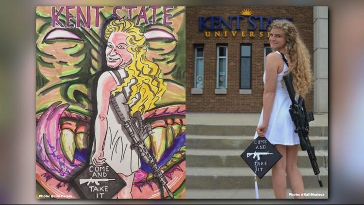 Jim Carrey slams Kent State student's gun photo by posting 'devil' cartoon