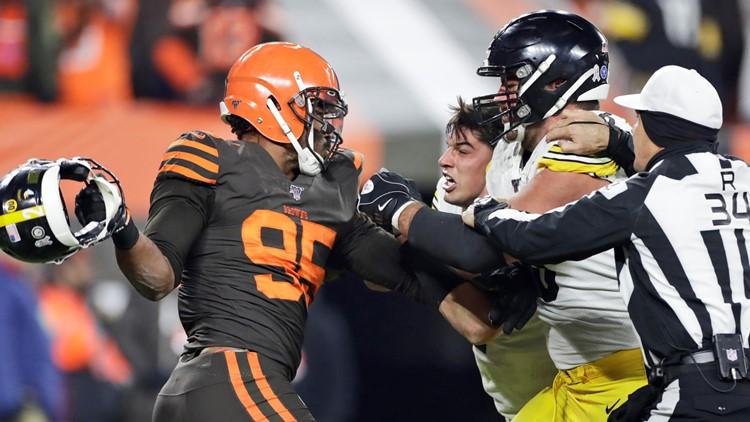 Myles Garrett Pittsburgh Steelers-Cleveland Browns Football