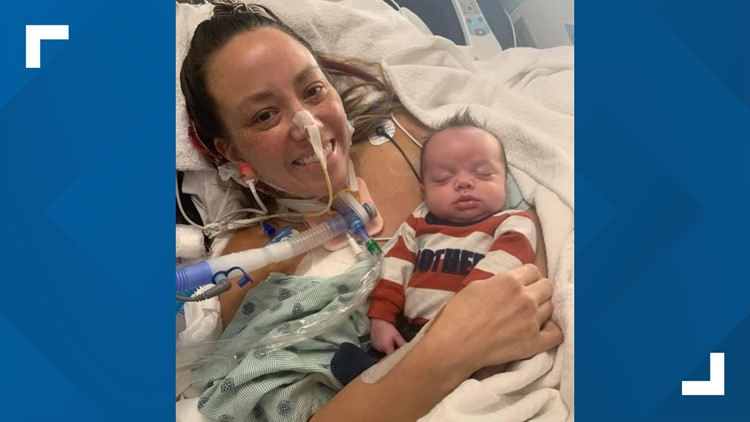 Mother in Indiana battling COVID finally meets her baby more than 50 days after boy was born