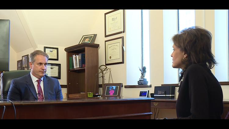 Hiatt's attorney, Matthew Posgay, talking with FCN's Jeannie Blaylock