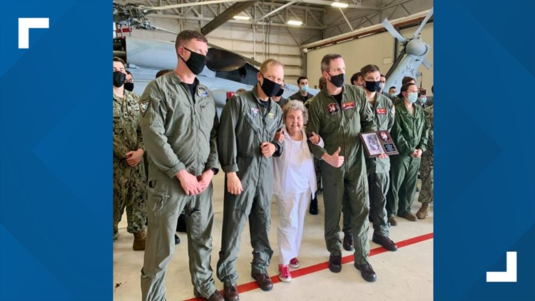 Navy widow takes ride in helicopter to celebrate 100th birthday