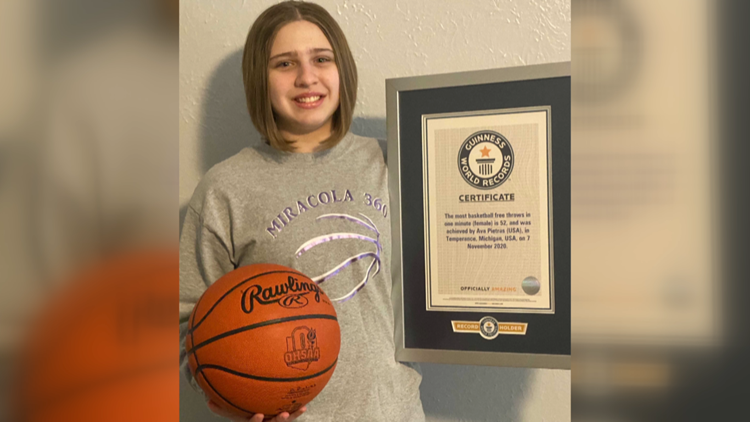 Ohio seventh-grader breaks Guinness World Record for most free throws in a minute