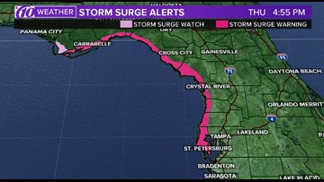 Storm surge warning for parts of Tampa Bay area ahead of potential tropical cyclone