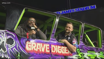 How to ride in 'Grave Digger' truck during Monster Jam in Tampa