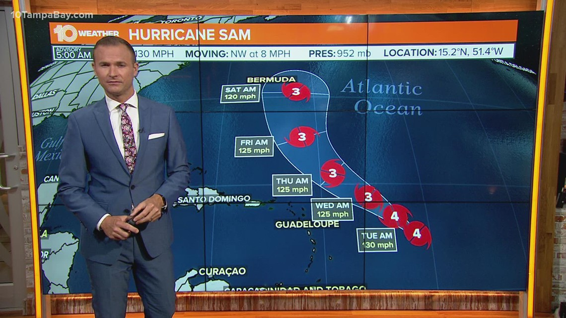 NHC: Hurricane Sam weakens some, but holds on as Category 4 storm