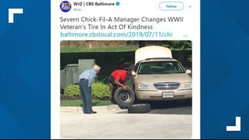 Chick-fil-A manager changes veteran's tire in act of kindness