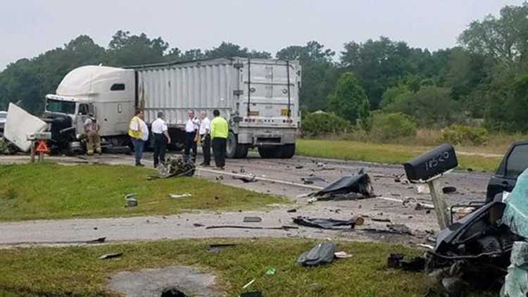 Driver killed when he crashes nearly head-on into a semi | wtsp com